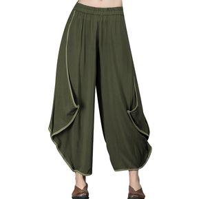 Mujer Cinturaelástica Pierna Ancha Color Puro Pantalones 72e846a3a27
