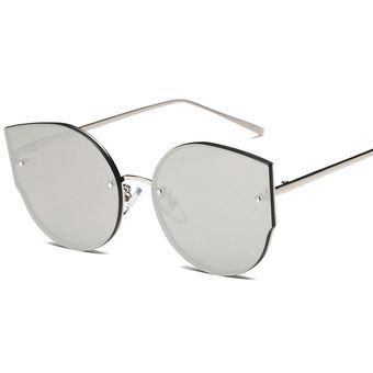 039a3352d1 Rimless Lentes Planos Bastidor De Metal UV400 Gafas De Sol Para Mujer