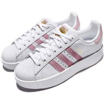 zapatillas adidas superstar blancas y rosas