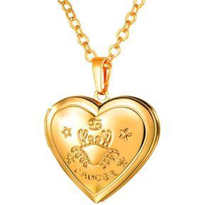 ea19615e9f34 Agotado Collar de Guardapelo en Forma de Corazón de Horóscopo Cáncer Chapado  en Oro Regalos Mujeres de
