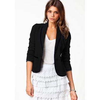 comprar Buenos precios colores y llamativos Abrigo Corto Blazer Delgado Casual Para Mujer -negro