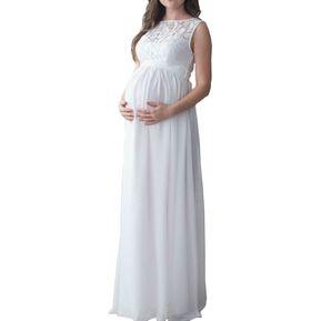 2e18b8614 Vestido Largo Para Mujer Embarazada Con Encaje - Blanco