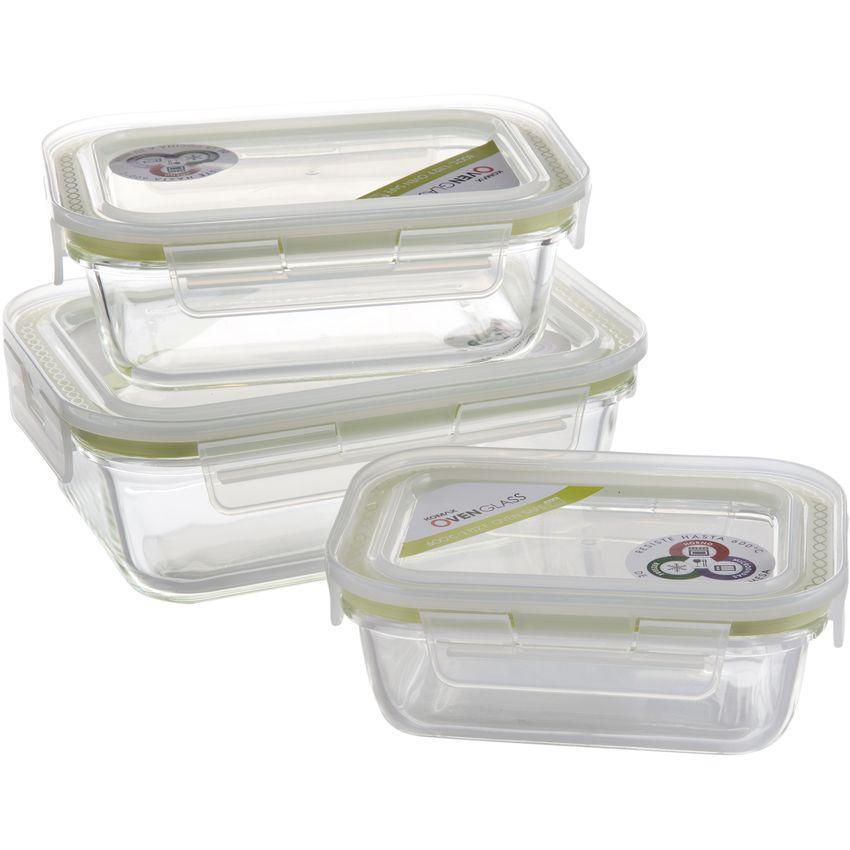 Set 3 fuentes de Horno Oven Glass Tapa hermética