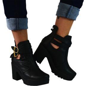 4cac2201213f1 Botines Tacón 5 Y Medio Plataforma Para Mujer OutFit París Negro