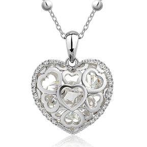 6ccb8e55c0b0 Záffira - Collar Mujer Corazón Con Cristales Swarovski - Blanco