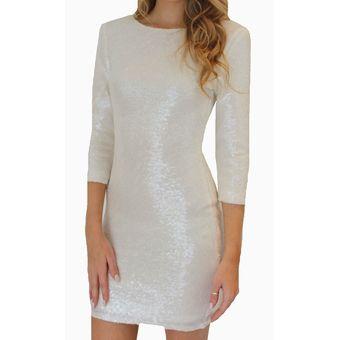 dc20882d Vestido de Coctel E-Thinker con lentejuelas y manga larga para mujer -  Blanco