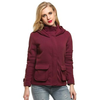 e899404e945 Compra Chaqueta Mujer Cuero Sintético-Rojo oscuro online
