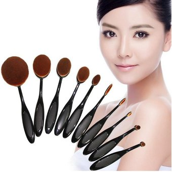 cfcf978f9 Set 10 Brochas Ovaladas Profesionales Maquillaje Tipo Mac Sombras  Cosmeticos Maquillistas Makeup
