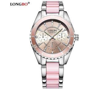 8ccd5a8ff791 LONGBO 80303L Reloj Correa de Cerámica Puntero Luminoso mujer rosa