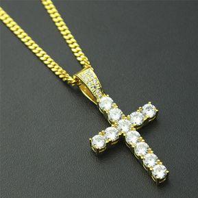 0d785285c1ae Hip Hop garra Set Premium circón collar colgante cruz