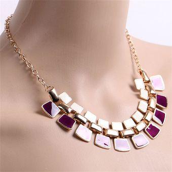 b8e4e0153575 EY Collar De Europa Y América Del Suéter Grande De La Cadena Collar Blanco  Púrpura