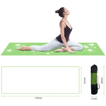 Yoga Mat antideslizante flor patrón de impresión PVC 6MM Yoga Mat  ejercicio-Púrpura  Verde eb87f1a7f81b
