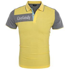 2b206fe55d84f Camisa de Polo COOFANDY Patchwork Contraste para Mujer-Amarillo
