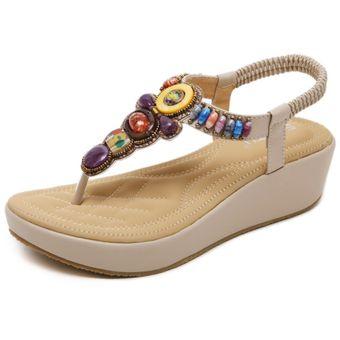 Cuña Con De Cómodos Zapatos Grande Verano Beige Sandalias Mujer rxBshQdtC