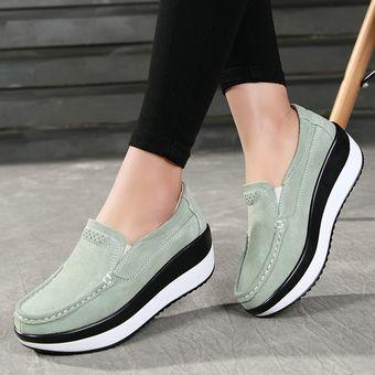 Otoño Invierno Para Verde Zapatos De Compra E Mujer Cuero Casuales YRqIwSO