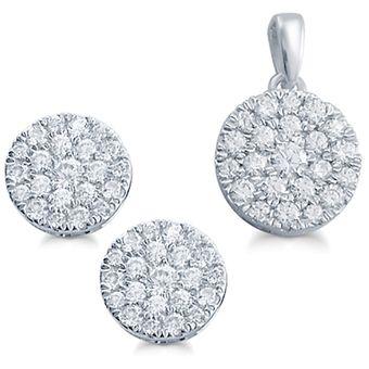 Para estrenar 0f3ea 7f625 Set de Gargantilla y Aretes Oro Blanco 14K , 66 Diamantes 1.00Q