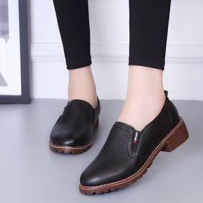 20c985b6d Zapatos Planos PU Con Cordones Y Punta Redonda Zapatos Oxford Mujer