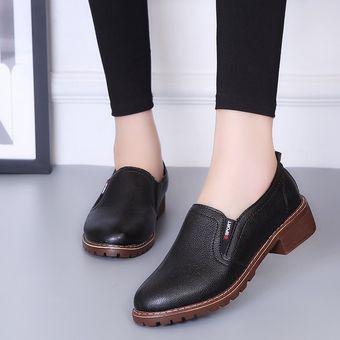 mejores zapatillas de deporte 37e82 44da3 Zapatos Planos PU Con Cordones Y Punta Redonda Zapatos Oxford Mujer