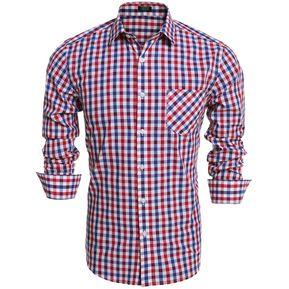 dd3ee518be Los Hombres Slim Manga Larga Tela Escocesa Botón Camisas De Moda-Azul Rojo