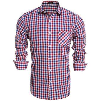 Los Hombres Slim Manga Larga Tela Escocesa Botón Camisas De Moda-Azul Rojo 881347113c25a
