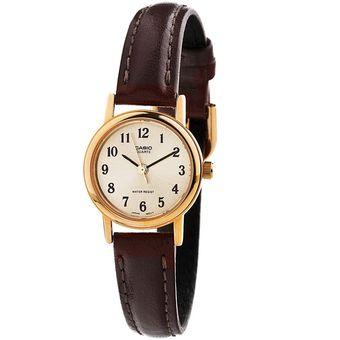 6b17875ee753 Agotado Reloj Casio LTP 1095Q 9B1 - Cuero Café fondo Dorado Para Mujer