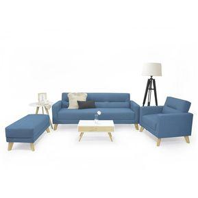7054253798063 Juego De Sala Sion Tela Poliéster Color Azul Incluye Mesa de Centro