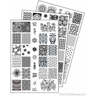 Uberchic Nail Art Colección 13 De Placas Para Estampar Uñas 3 Piezas