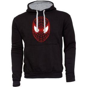 3de6406a99d3d MDC Polerón de Hombre cerrado con capucha Spiderman Rostro Negro