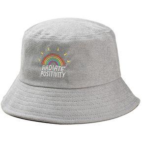 94817afed1d43 ZAFUL-Sombrero de pescador de pana bordado arco iris-Gris