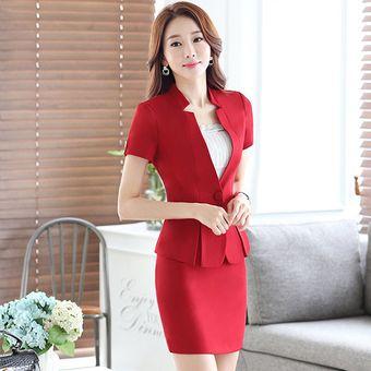 f9fae40cc5a52 Trajes Con Chaleco Para Mujer Faldas Y Sacos Formales De Oficina Y Negocio  - Rojo