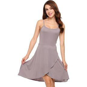 6998b8da0 Mujeres Strapless Sin Mangas Faux Wrap Asymmetrical Mini Vestido -Gris