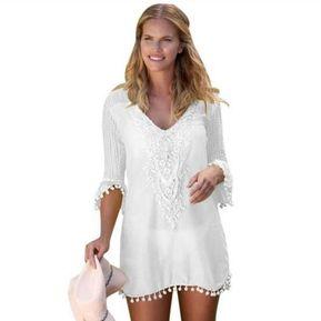 Vestido de Playa fashion-cool mujer blanco 40d70a5161c5