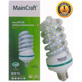 0e5d00c3acc FOCO LED ESPIRAL DE 16 WATTS ILUMINA 160 INCANDESCENTES SOCKET NORMAL