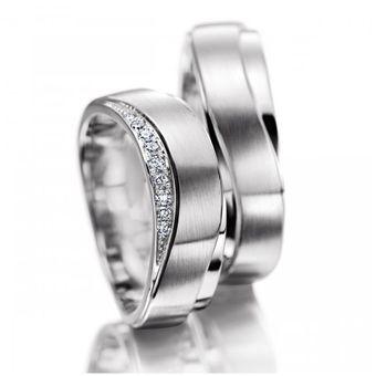 5a99ab038d99 Argollas De Matrimonio Fashion Boutique De México Modelo A24 De Oro Blanco  De 14K Con 8