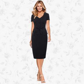 fd1562041 2017 Ropa De La Señora Nueva Oficina Vestido De Primavera-Negro
