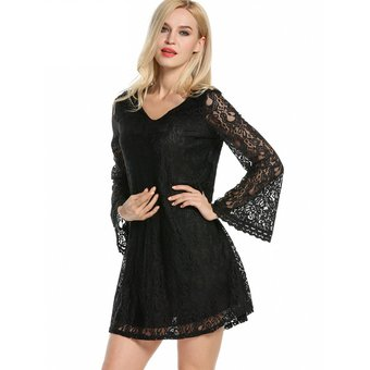 Vestido negro con manga ancha