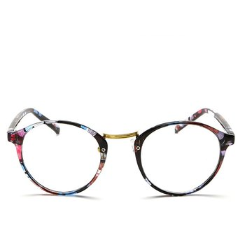 Agotado Vintage ópticos Gafas Redondo Los Anteojos Grande Marco Uni Estudiante  Miopía -Floral 0dae972842d2