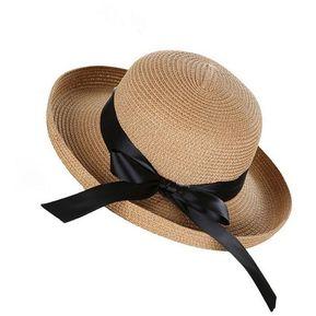 9f2a504437180 Estilo británico Womens Moda tejer sombrero de paja de moda playa plana Azul