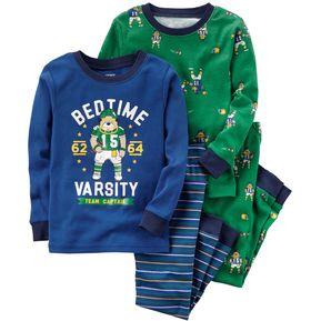 b7186bbaaaa Set Pijamas 4 Piezas Algodón Para Bebé Niño - Azul Y Verde