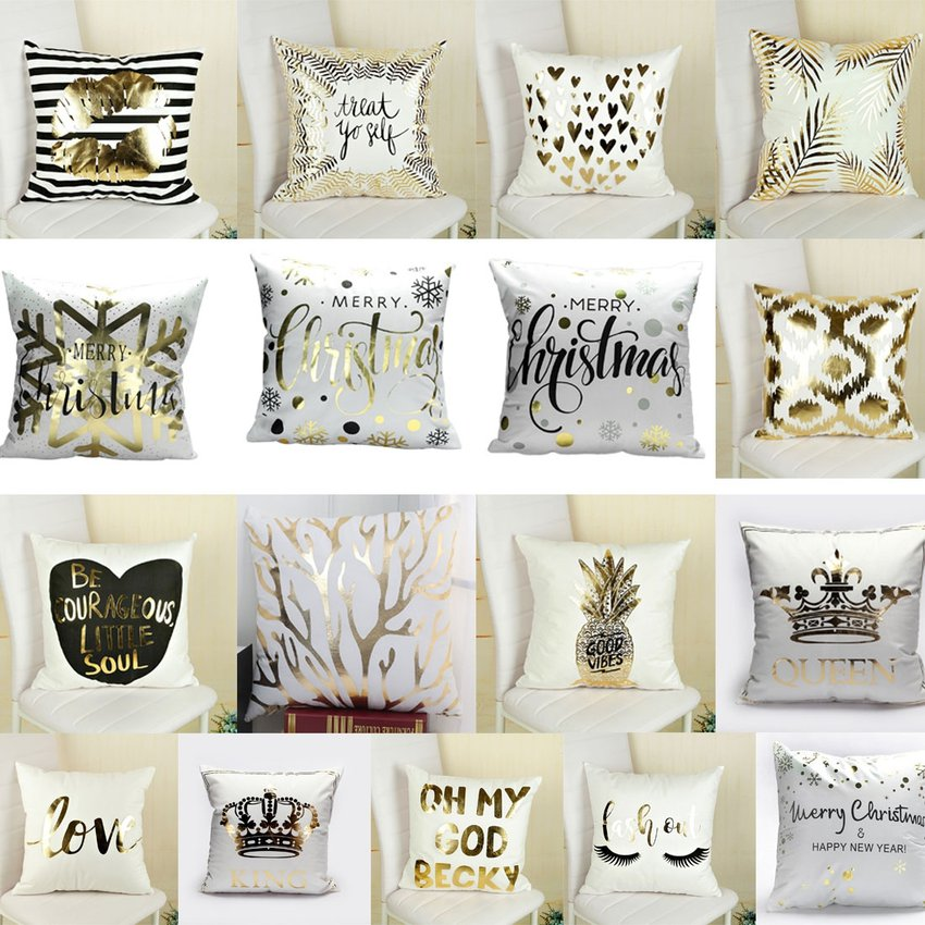 Fashion Bronzing Gold Printed Cushion Cover Sofá Asiento Pillow Case Tamaño: 45 * 45cm SU015HL0MZSDXLMX l5gaolob l5gaolob PwfCrf8y
