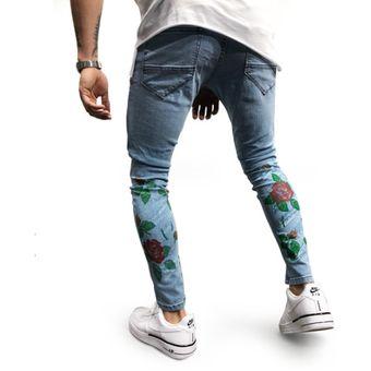 zapatos deportivos 49dfc 430cd Estampado de flores de moda Skinny Jeans Hombres Slim Fit Jeans rasgados