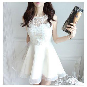 b089a2e55 Compra vestido de encaje sin mangas estilo hermoso de color blanco ...