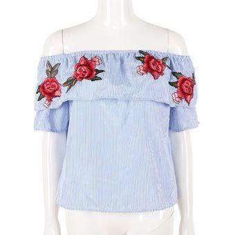 3a76025726 Compra Rosa Bordado Fuera Del Hombro A Rayas Blusa (Azul) online ...