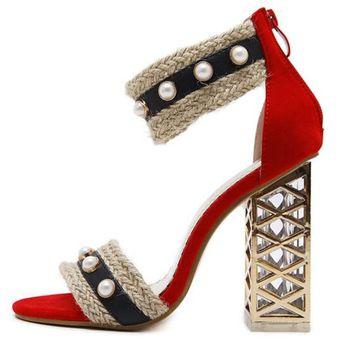 Delgadas Rojo Sexy Sandals Sandalias Alto De Mujer Compra Tacón xI8Fqax