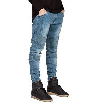 36450e9a34 Jeans pitillo ajustados para hombres Hiphop Skinny Jeans para hombre-Azul