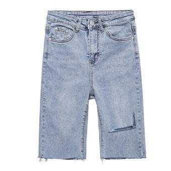 Pantalones Cortos Vaqueros Rotos Azules De Cintura Alta Elasticos Informales Para Mujer Con Bolsillos Borlas Pantalones Cortos Por Debajo De La Rodilla Vaqueros Para Mujer Verano 2020 Blue Linio Peru Un055fa1ccf0vlpe