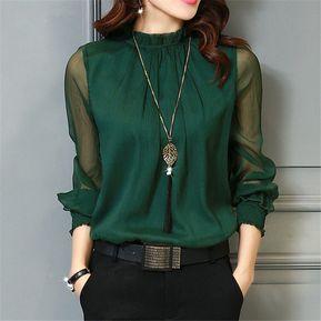 e4e3ed28dc Blusa De Chifón De Cuello Alto De Manga Larga Para Mujer -verde