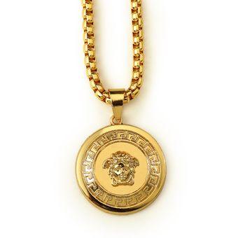 daa34c00513a Chapado en oro de 18 quilates color marca Marea Collar Joyeria Boutique hip  - hop Medusa