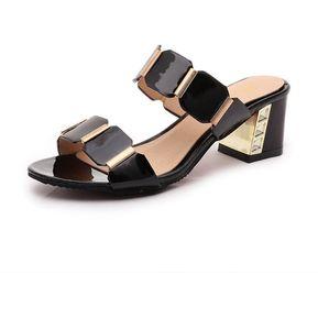 d6fec8cd355 Sandalias Con Tacón Y Color Puro Para Mujer E-Thinker -Negro