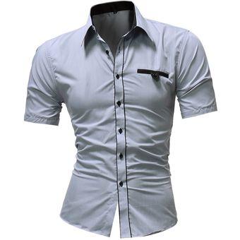 Moda Camisas De Vestir Clásicas De Manga Corta Para Hombres